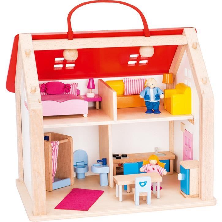 Goki Koffer Puppenhaus mit Zubehör 51780 3+ Holz, Textil