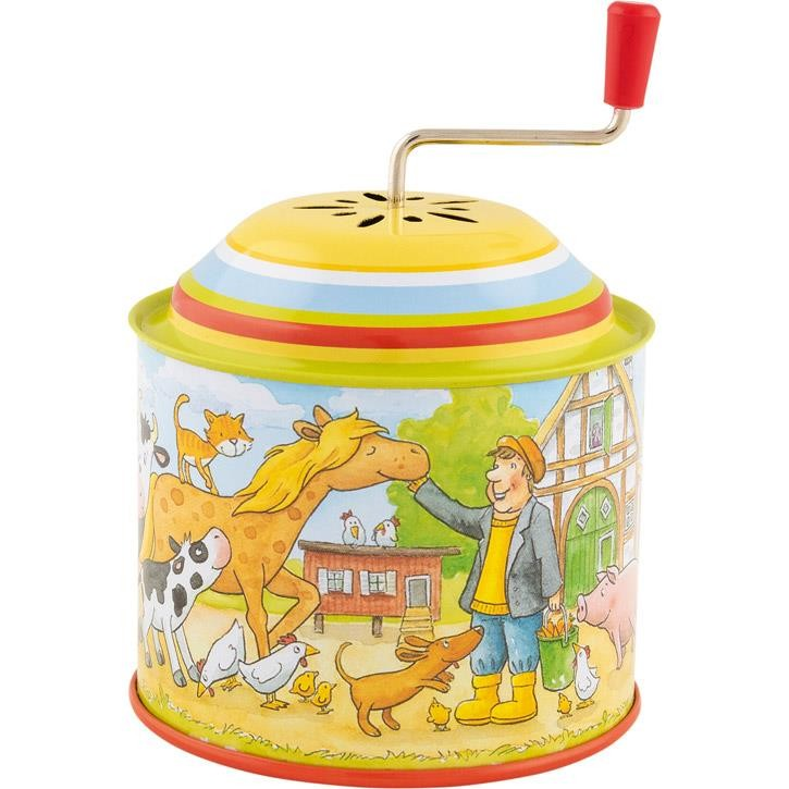Goki Musikspieldose, Bauernhof, Melodie: Old Mc Donald had a farm 60724 1+ Metall