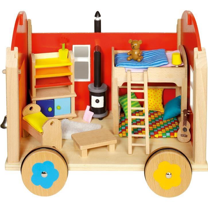 Goki Puppenbauwagen mit Zubehör 51814 3+ Holz, Textil