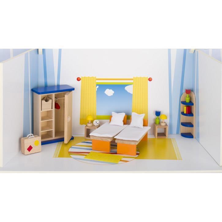 Goki Puppenmöbel Schlafzimmer 51745 3+ Holz, Textil