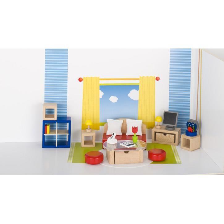 Goki Puppenmöbel Wohnzimmer 51749 3+ Holz, Textil, Kunststoff