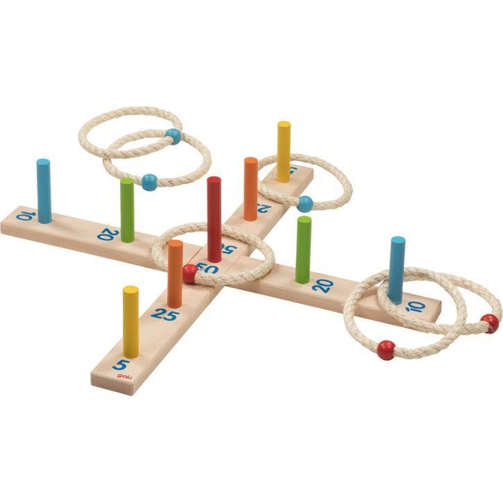 Goki Ringwurfspiel mit 6 Sisalringen 56801 3+ Holz, Sisal