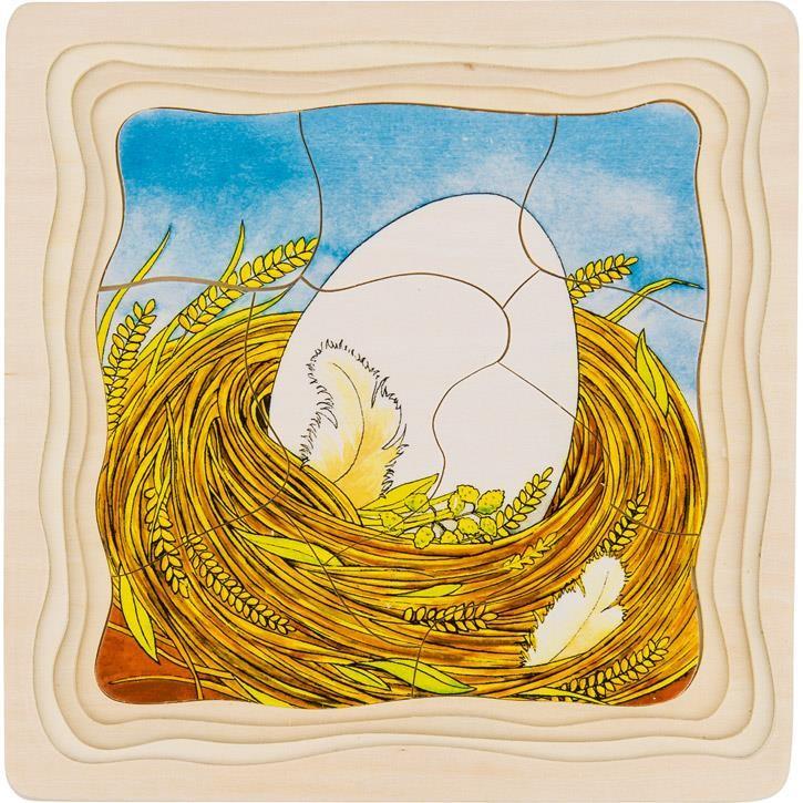 Goki Schichtenpuzzle Das Huhn 57521 3+ Holz