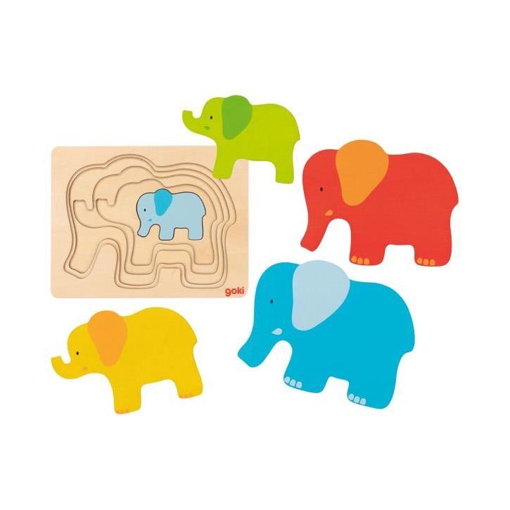 Goki Schichtenpuzzle Elefant 57450 2+ Holz