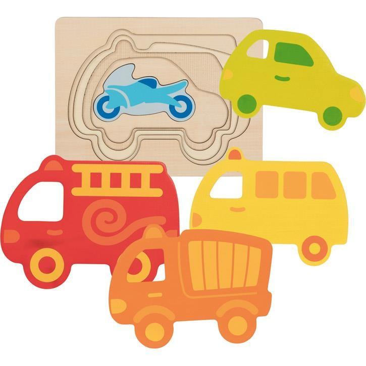 Goki Schichtenpuzzle Fahrzeuge 57704 2+ Holz