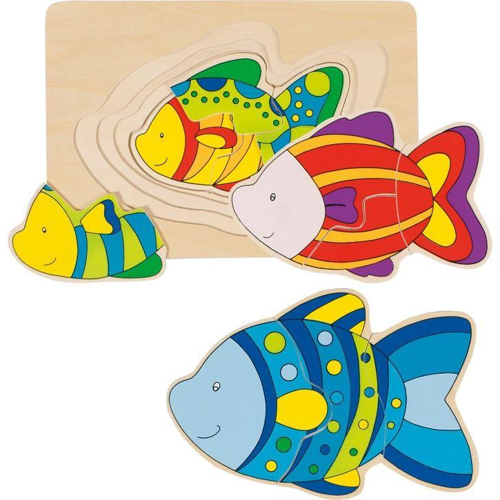 Goki Schichtenpuzzle Fisch 57897 2+ Holz