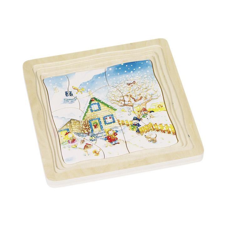 Goki Schichtenpuzzle Jahreszeiten 57684 3+ Holz
