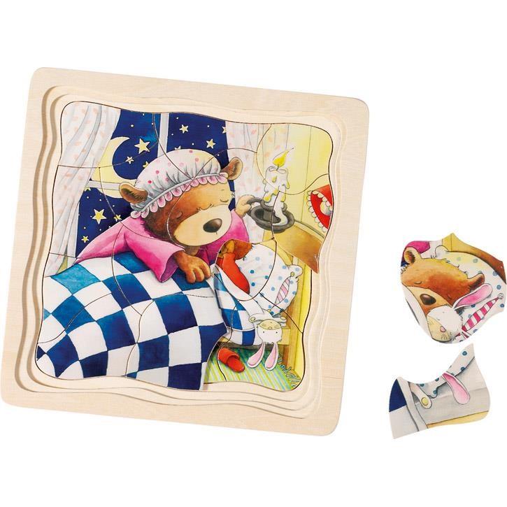 Goki Schichtenpuzzle Kleiner Bär 57583 3+ Holz