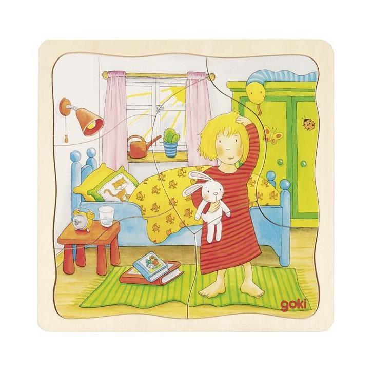 Goki Schichtenpuzzle Mein Tag 57424 3+ Holz