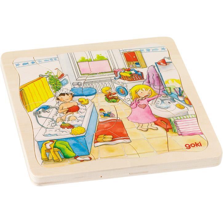 Goki Schichtenpuzzle Mein Tag 57566 3+ Holz