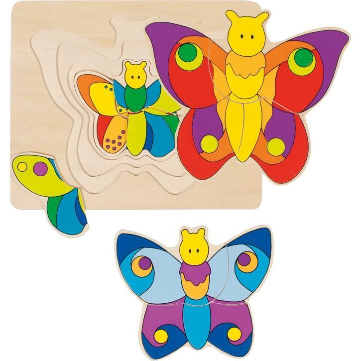 Goki Schichtenpuzzle Schmetterling 57899 2+ Holz