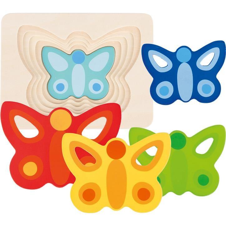 Goki Schichtenpuzzle Schmetterling II 57486 2+ Holz