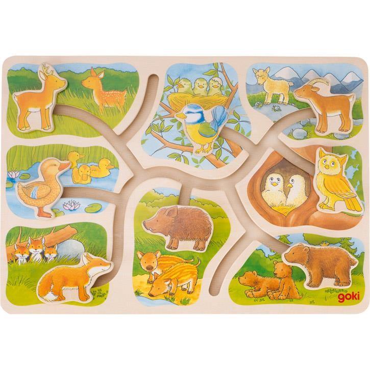 Goki Schiebepuzzle Wer gehört zu wem? 57749 3+ Holz