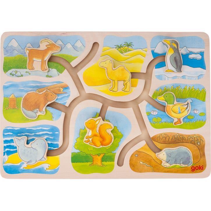Goki Schiebepuzzle Wer wohnt wo? 57750 3+ Holz