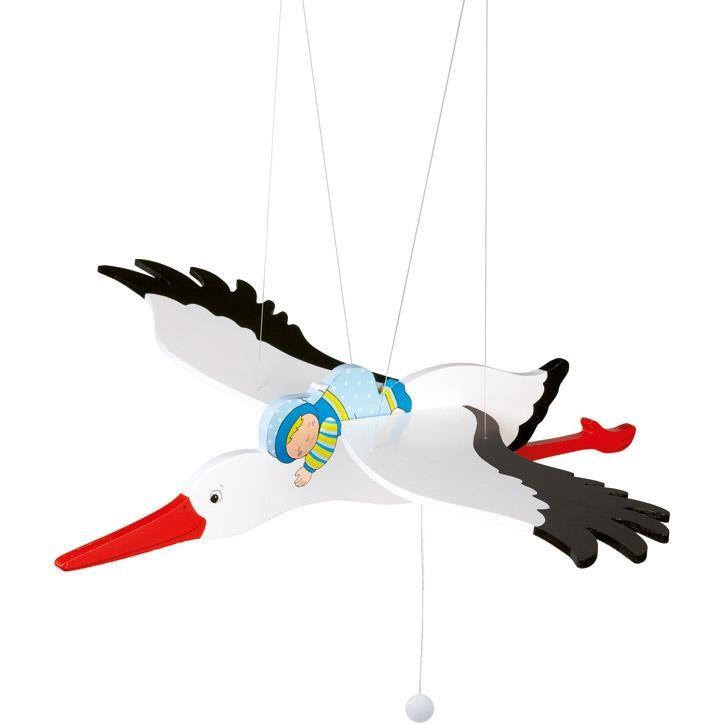 Goki Schwingtier Storch mit Baby 52991 0+ Holz