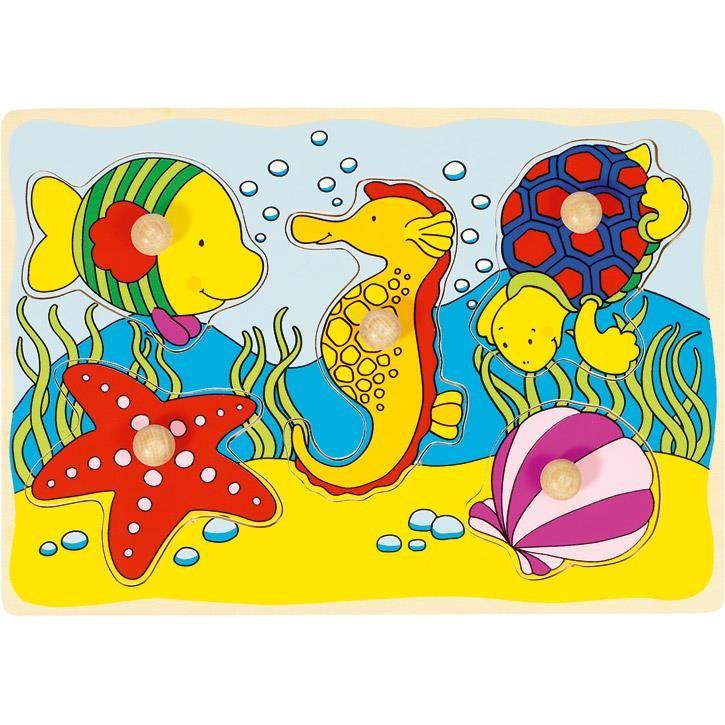 Goki Seepferdchen, Muschel,... Steckpuzzle 57857 1+ Holz
