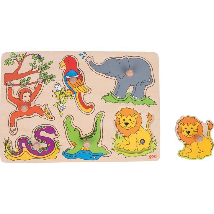 Goki Soundpuzzle Zootiere, mit Tierstimmen 57862 1+ Holz
