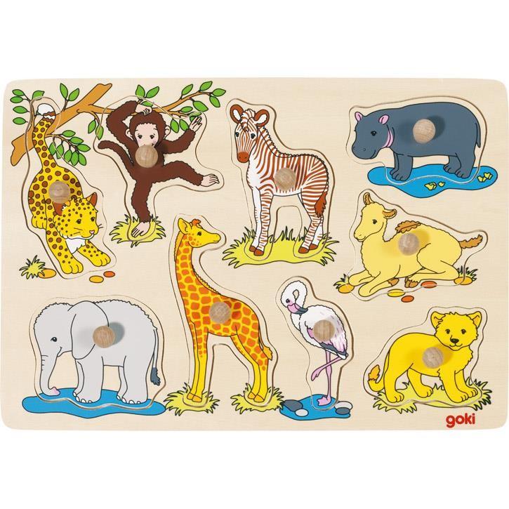 Goki Steckpuzzle Afrikanische Tierkinder 57829 1+ Holz