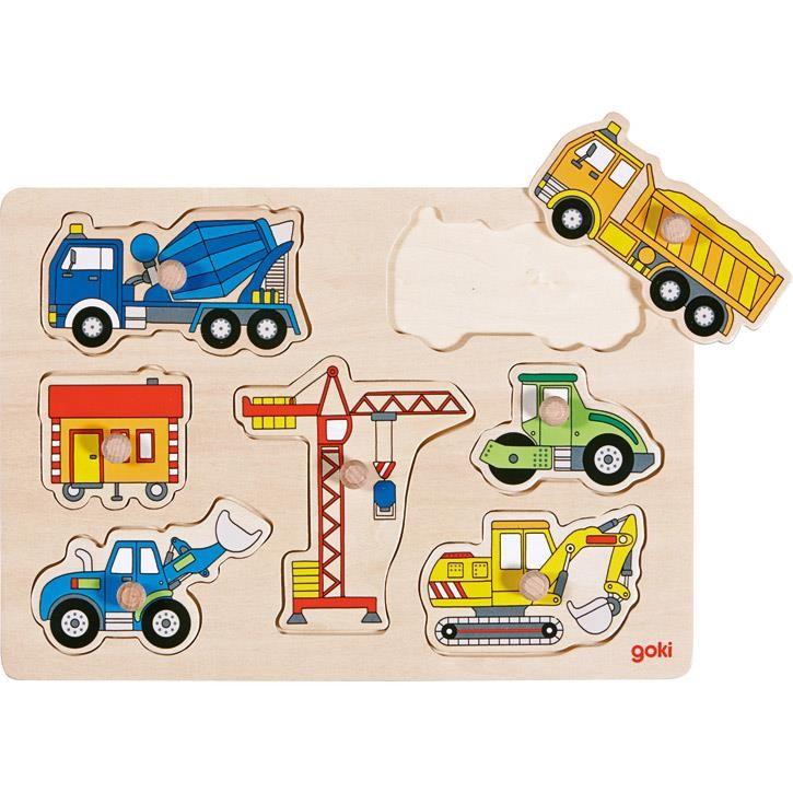 Goki Steckpuzzle Baufahrzeuge 57593 1+ Holz