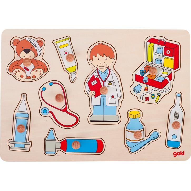 Goki Steckpuzzle Besuch beim Arzt 57748 1+ Holz