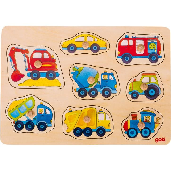 Goki Steckpuzzle Fahrzeuge Aquarell 57726 1+ Holz