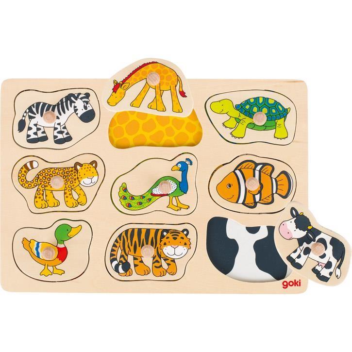 Goki Steckpuzzle mit Hintergrund Was gehört zu wem? 57585 1+ Holz