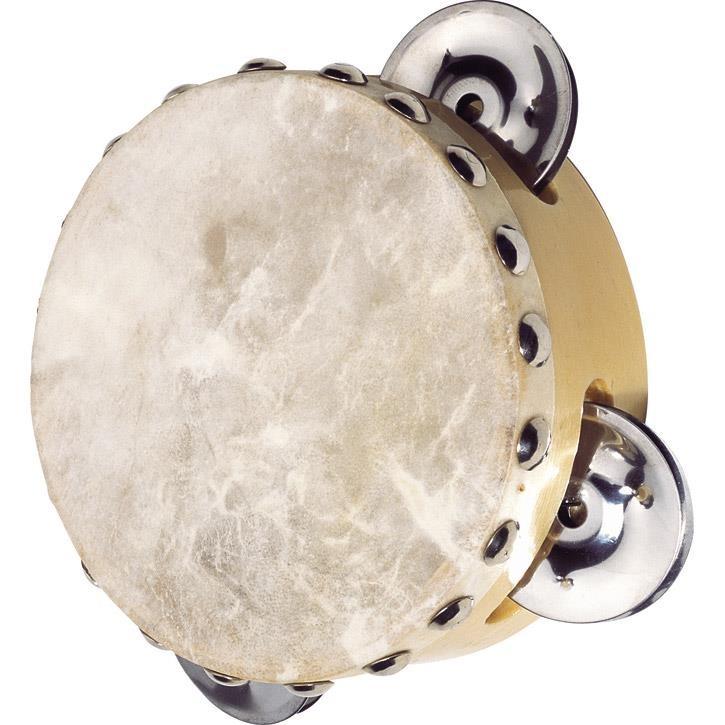 Goki Tamburin mit 3 Schellen UC086 3+ Holz, Naturfell, Metall