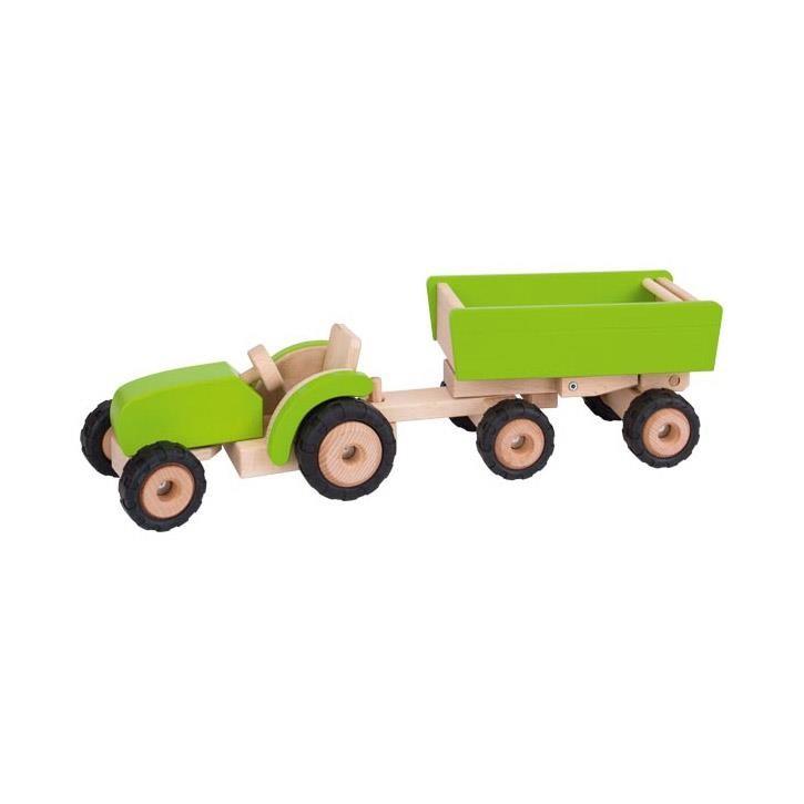 Goki Traktor grün mit Anhänger 55941 3+ Holz