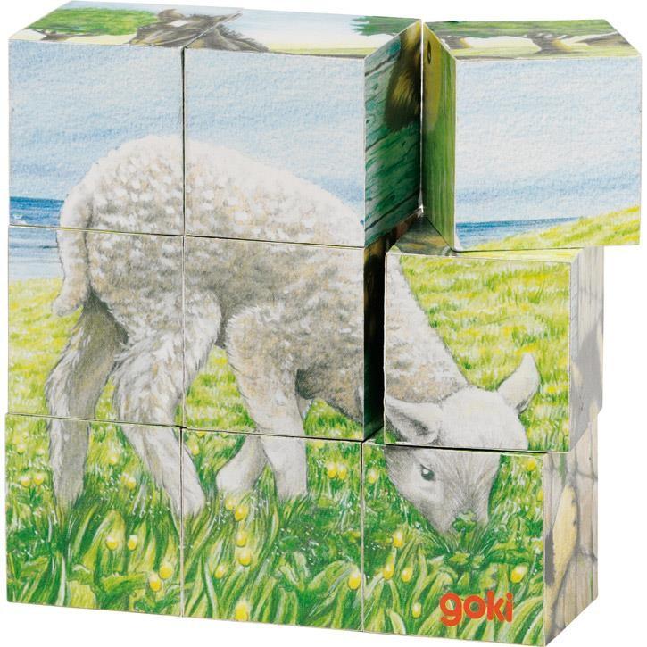 Goki Würfelpuzzle Bauernhoftiere 57607 3+ Holz