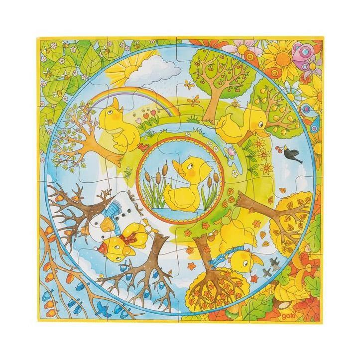 Goki XL Puzzle Ein Jahr mit der kleinen Ente 57451 3+ Holz