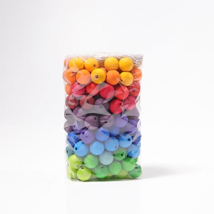 Grimms 180 Holzperlen, farbig, 20mm