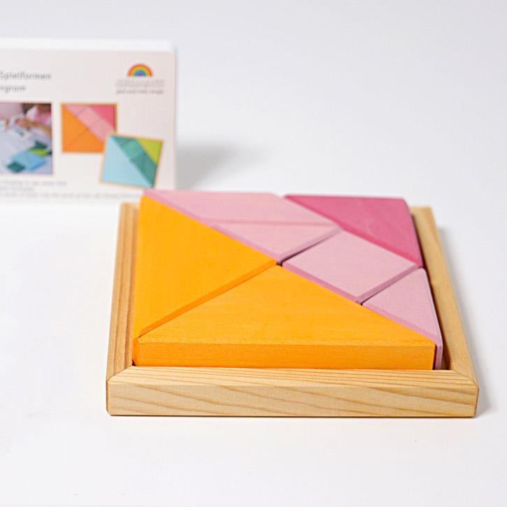 Grimms Legespielset Tangram orange-rosa, inkl. Vorlagenheft