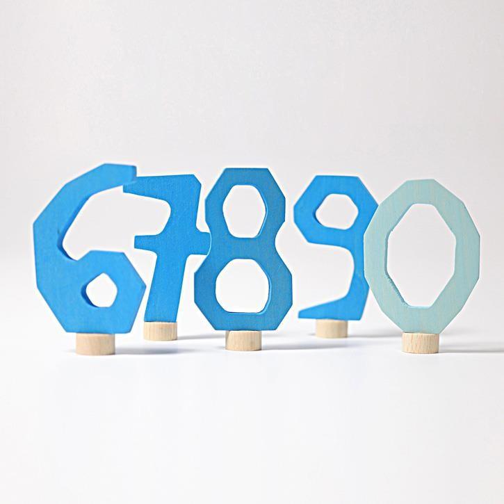 Grimms Zahlenstecker Set 6-9 & 0, blau