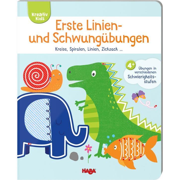 Haba Kreativ Kids- Erste Liniene- und Schwungübungen - Kreise, Spiralen, Linien, Zickzack...