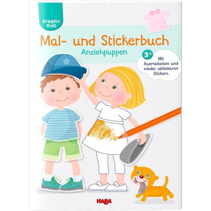 Haba Kreativ Kids- Mal- und Stickerbuch Anziehpuppen