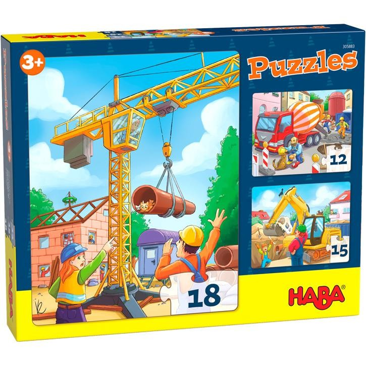 Haba Puzzles Baustellenfahrzeuge 3+