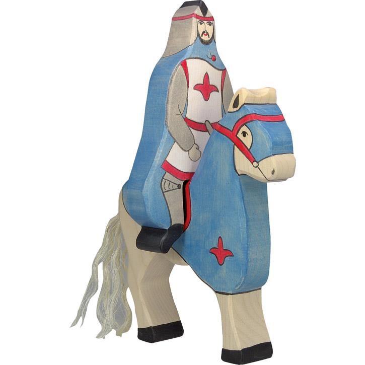 HOLZTIGER Blauer Ritter mit Mantel, reitend (ohne Pferd) 80247 3+ Holz