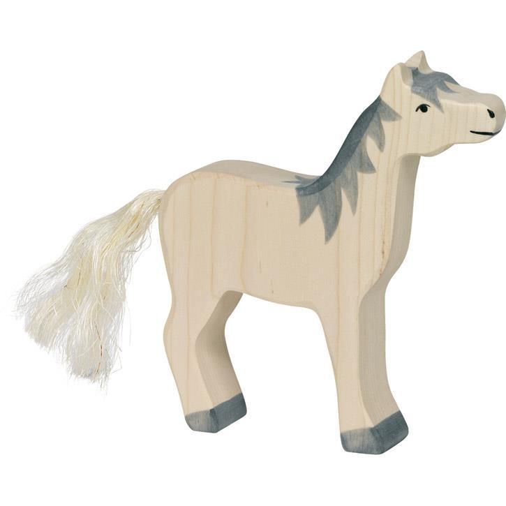 HOLZTIGER Pferd, Kopf hoch, graue Mähne 80360 3+ Holz