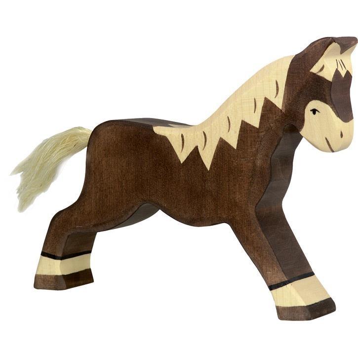 HOLZTIGER Pferd, laufend, dunkelbraun 80034 3+ Holz