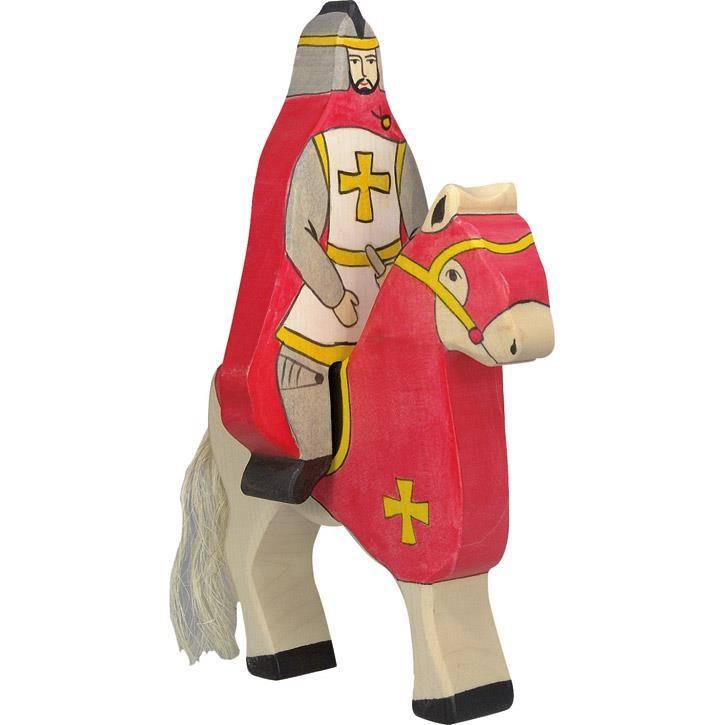 HOLZTIGER Roter Ritter mit Mantel, reitend (ohne Pferd) 80246 3+ Holz