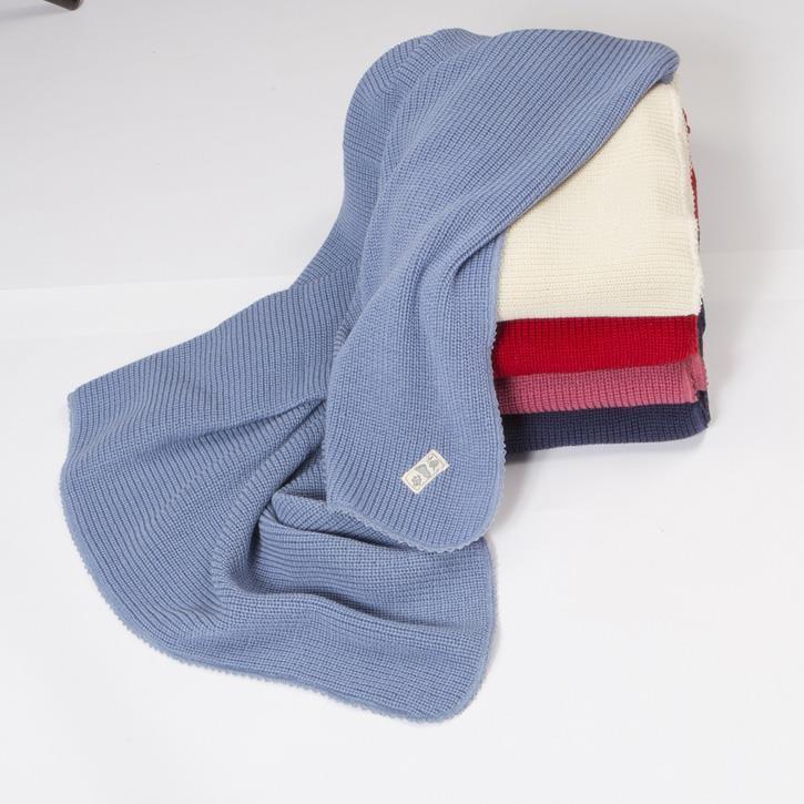 Lilano Decke gestrickt 90x85 Schurwolle KbT bleu