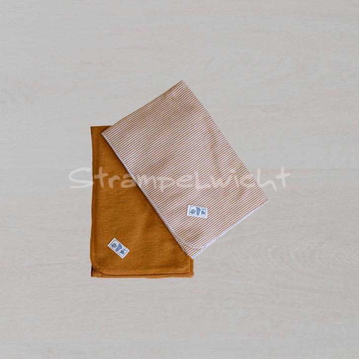 Lilano Decke Schurwolle KbT/Seide Jersey curry/ curry Ringel 80x90cm