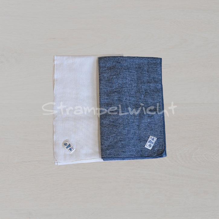 Lilano Decke Schurwolle KbT/Seide Jersey grau/ natur Ringel 80x90cm