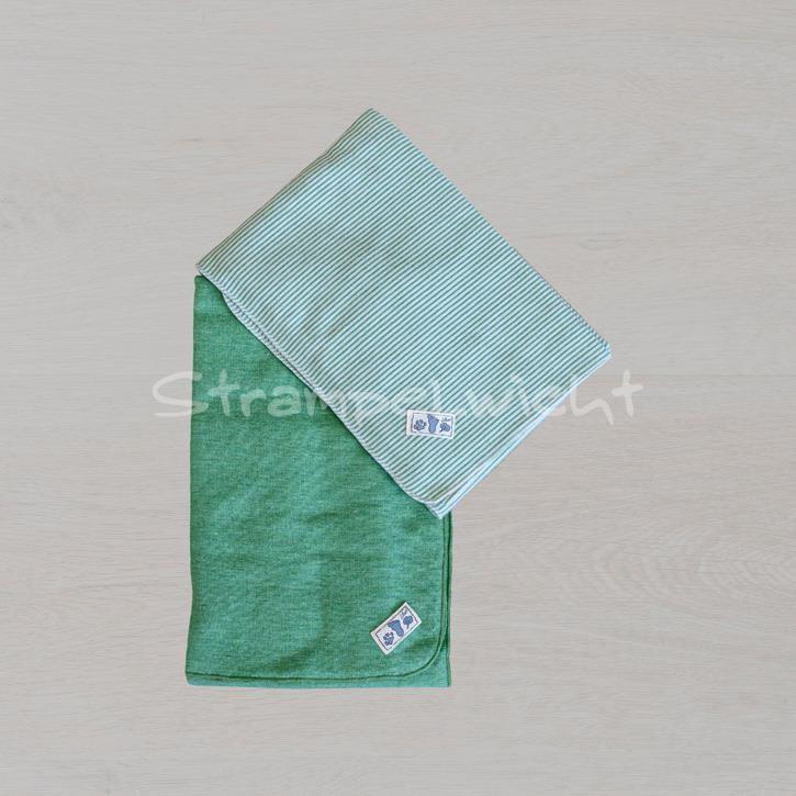 Lilano Decke Schurwolle KbT/Seide Jersey grün/ grün Ringel 80x90cm