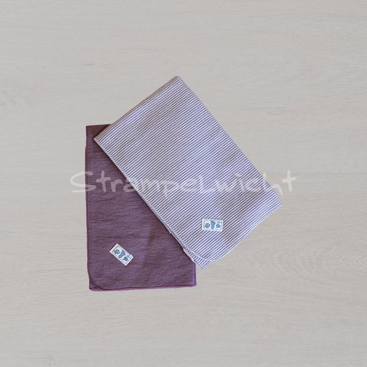 Lilano Decke Schurwolle KbT/Seide Jersey mauve/ mauve Ringel 80x90cm