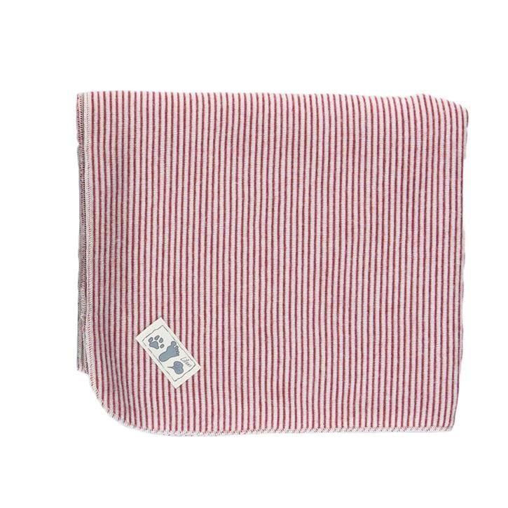 Lilano Decke Schurwolle KbT/Seide Jersey rot Ringel 80x90cm
