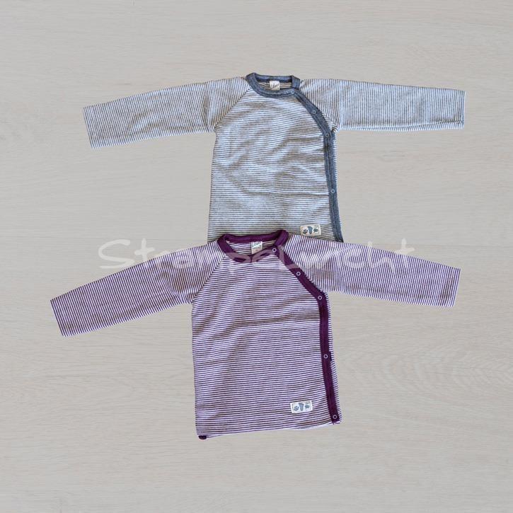 Lilano Shirt 1/1-Arm mit seitlicher Knopfleiste beere grau ringel