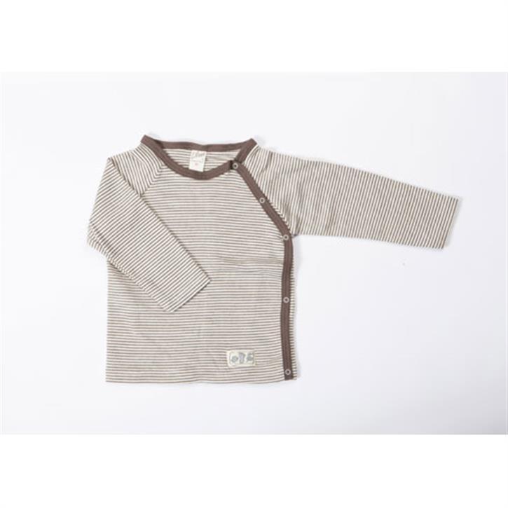 Lilano Shirt 1/1-Arm mit seitlicher Knopfleiste braun-ringel