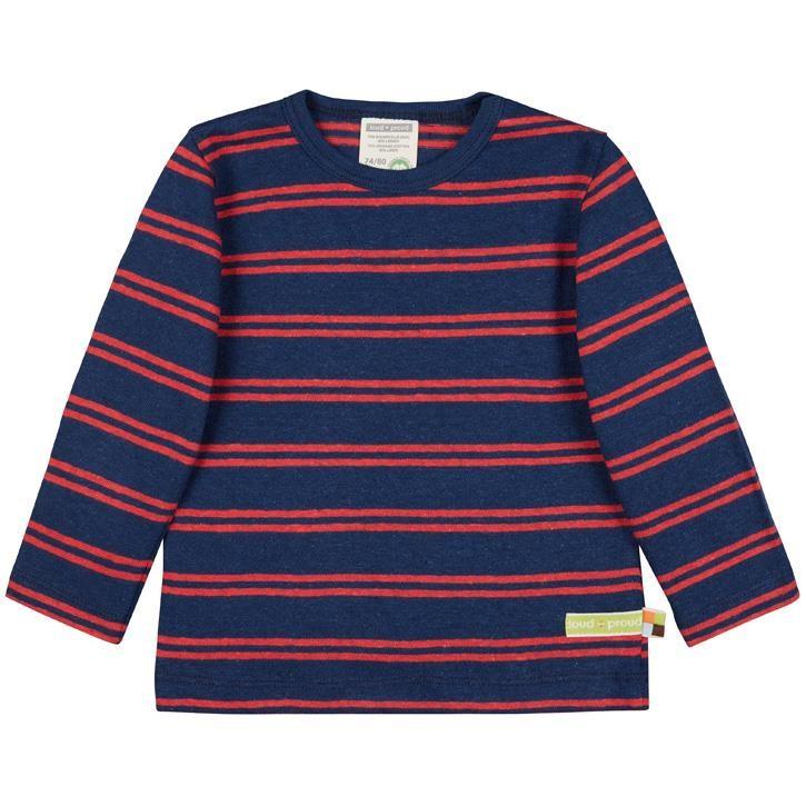 Loud+Proud Shirt langarm Streifen  Ultramarin 70% Baumwolle (kbA), 30% Leinen