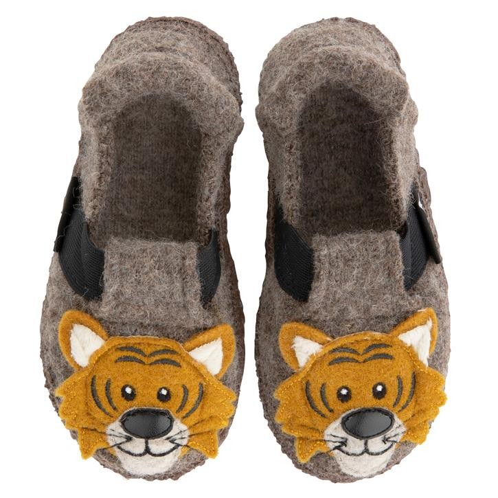 Nanga Roar Tiger mittelbraun Slipper 100% Schurwolle